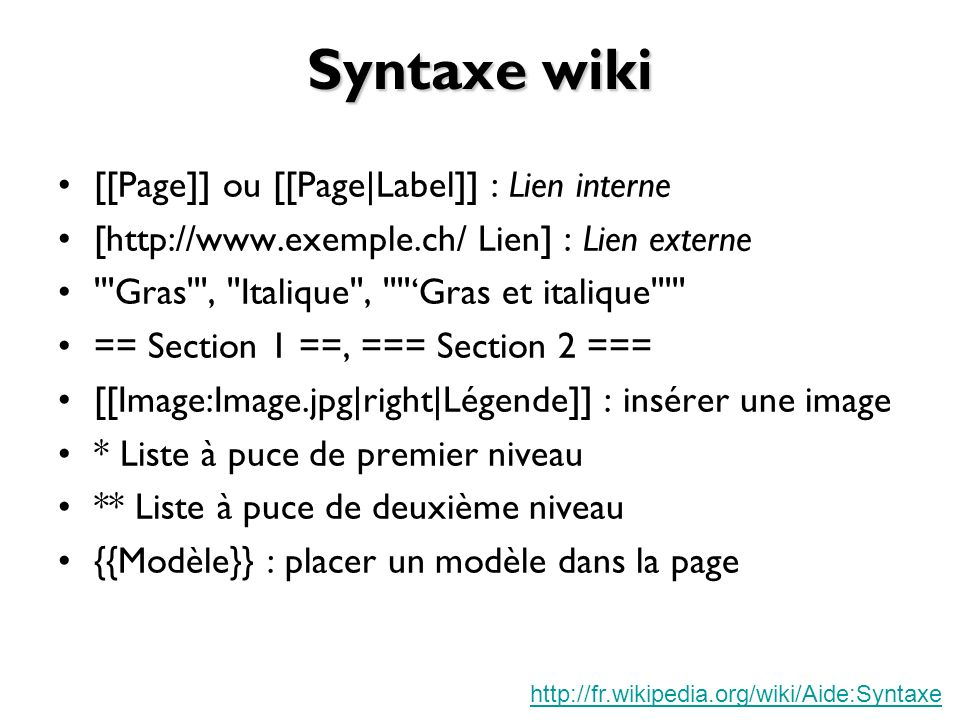 Syntaxe wiki [[Page]] ou [[Page|Label]] : Lien interne
